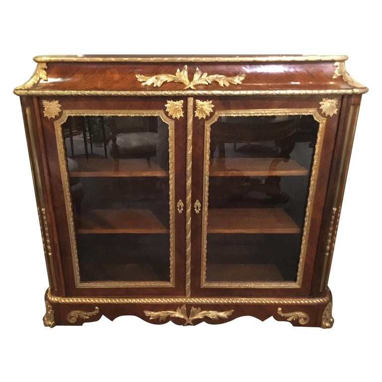 French Louis XV Style Gilt Bronze Mounted Two Door Vitrine/Bookcase 19th Century For Sale