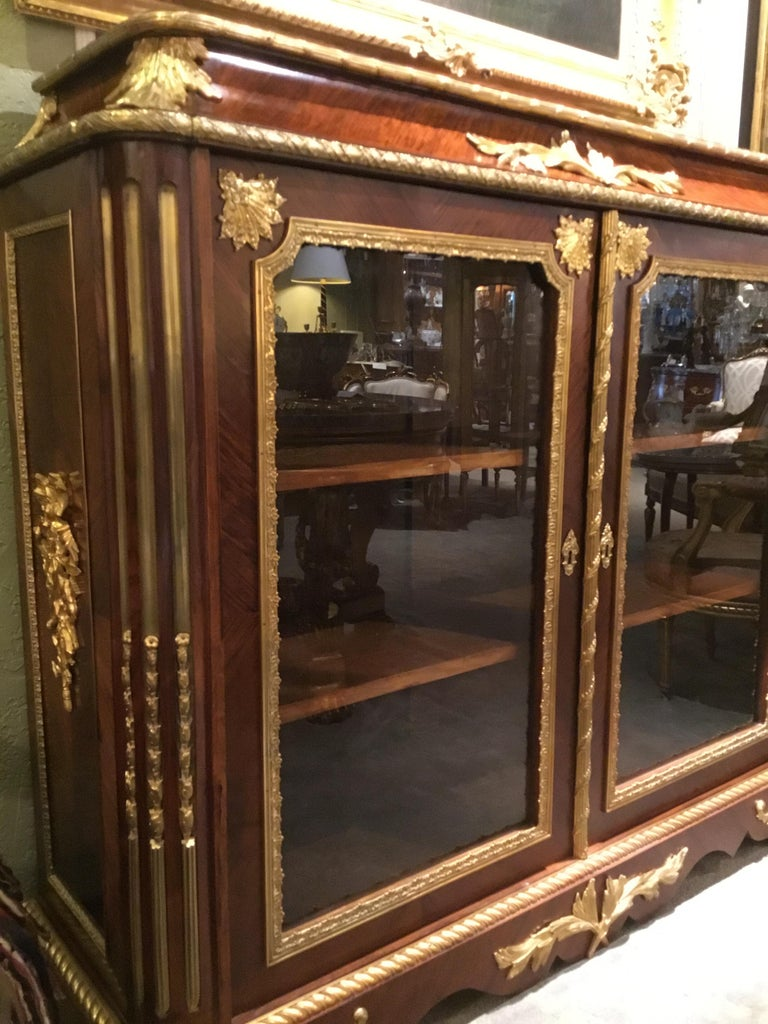 French Louis XV Style Gilt Bronze Mounted Two Door Vitrine/Bookcase 19th Century For Sale 16