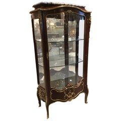 French Louis XV Style Gilt Bronze Mounted Vitrine Cabinet with Marble Top