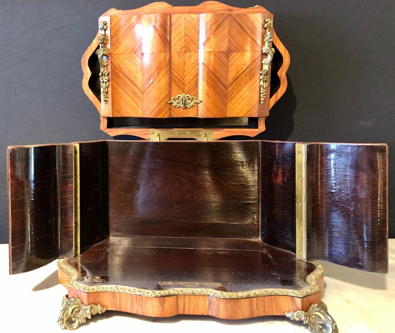 French Louis XV Style Gilt Metal Mounted Tantalus / Bar For Sale 9