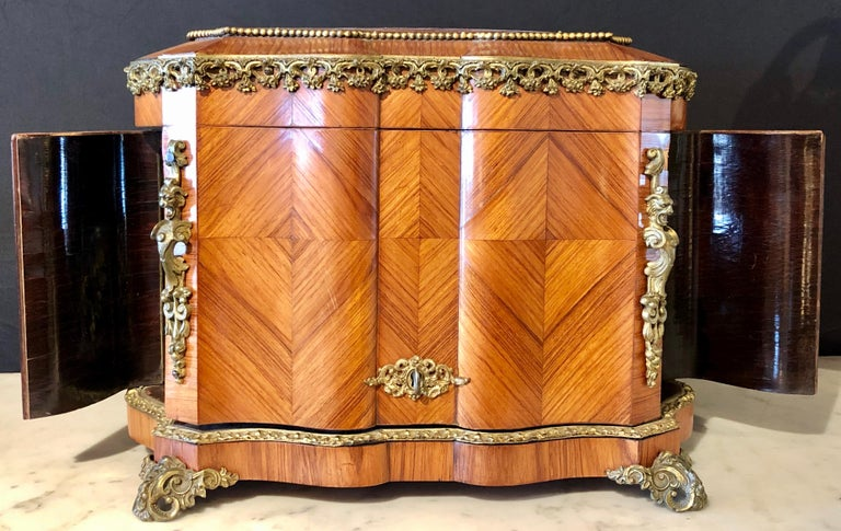 20th Century French Louis XV Style Gilt Metal Mounted Tantalus / Bar For Sale