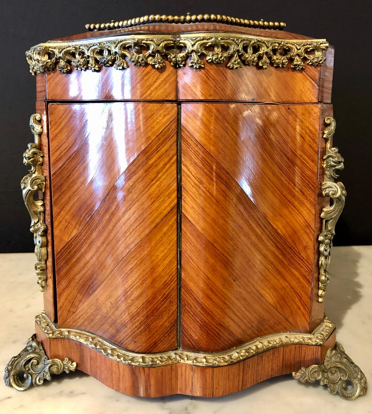 French Louis XV Style Gilt Metal Mounted Tantalus / Bar For Sale 3