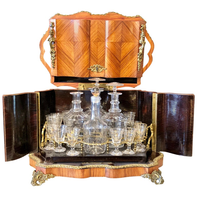 French Louis XV Style Gilt Metal Mounted Tantalus / Bar For Sale