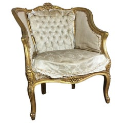 French Louis XV Style Giltwood Armchair, circa 1900 for re-upholstery