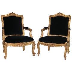 French Louis XV Style Giltwood Fauteuils a La Reine in Black Velvet