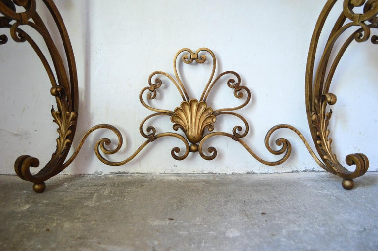 French Louis XV Style Gilt Wrought Iron and Marble-Top Console Table For Sale 5