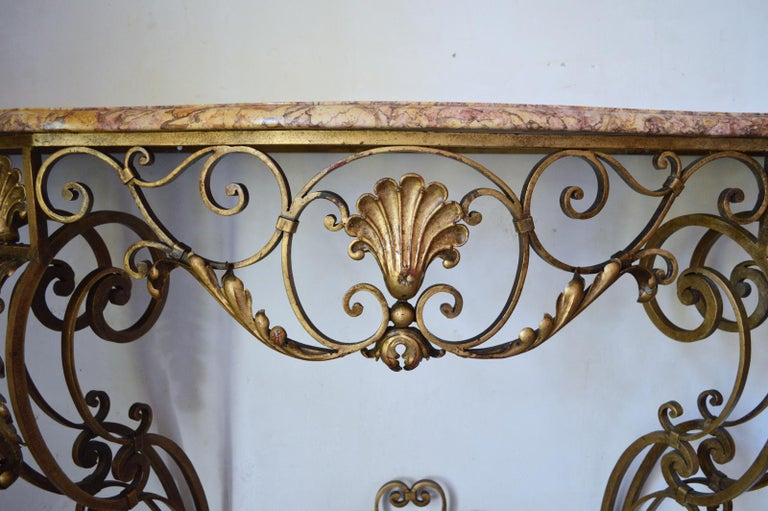 French Louis XV Style Gilt Wrought Iron and Marble-Top Console Table For Sale 6