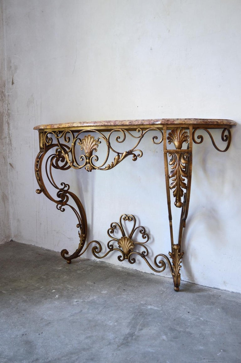 Beveled French Louis XV Style Gilt Wrought Iron and Marble-Top Console Table For Sale