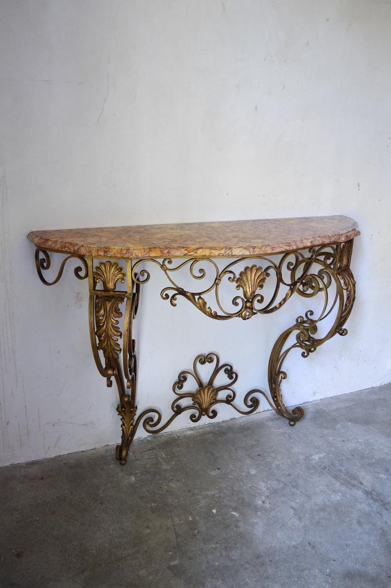 French Louis XV Style Gilt Wrought Iron and Marble-Top Console Table In Good Condition For Sale In L'Etang, FR