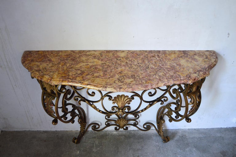 Mid-20th Century French Louis XV Style Gilt Wrought Iron and Marble-Top Console Table For Sale
