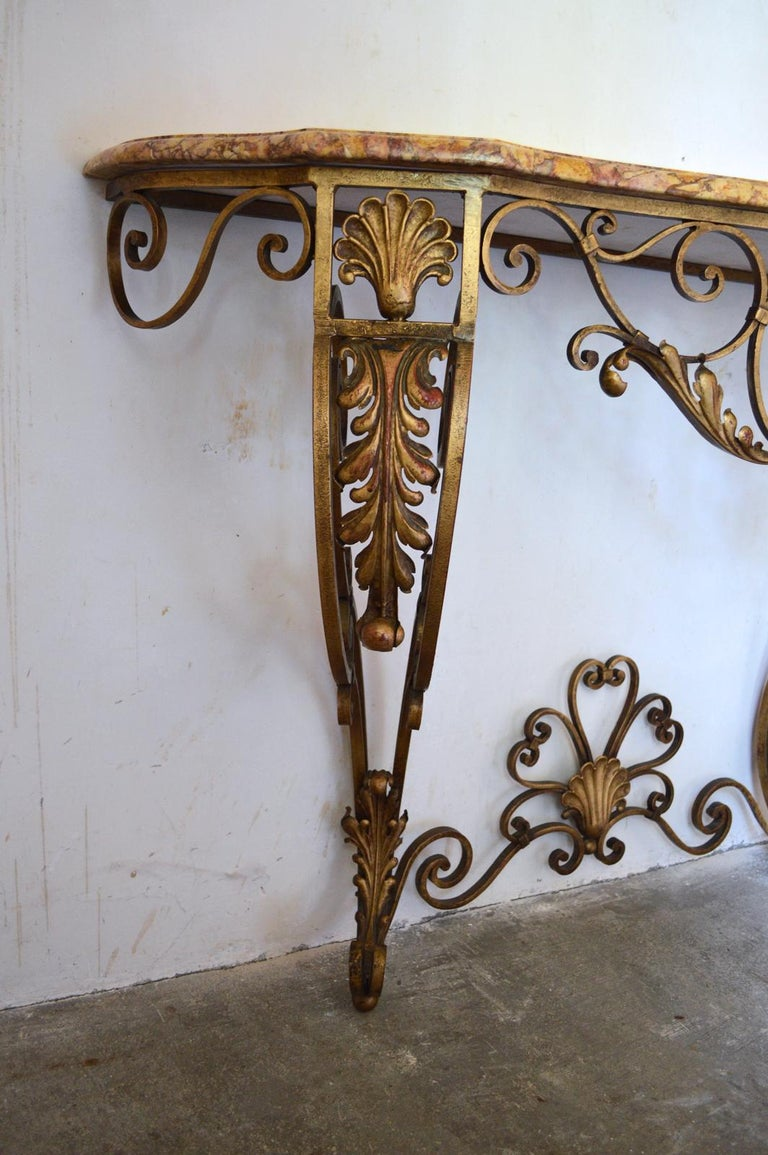 French Louis XV Style Gilt Wrought Iron and Marble-Top Console Table For Sale 1