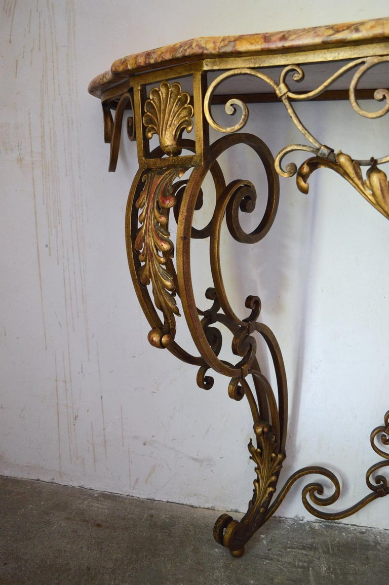 French Louis XV Style Gilt Wrought Iron and Marble-Top Console Table For Sale 2