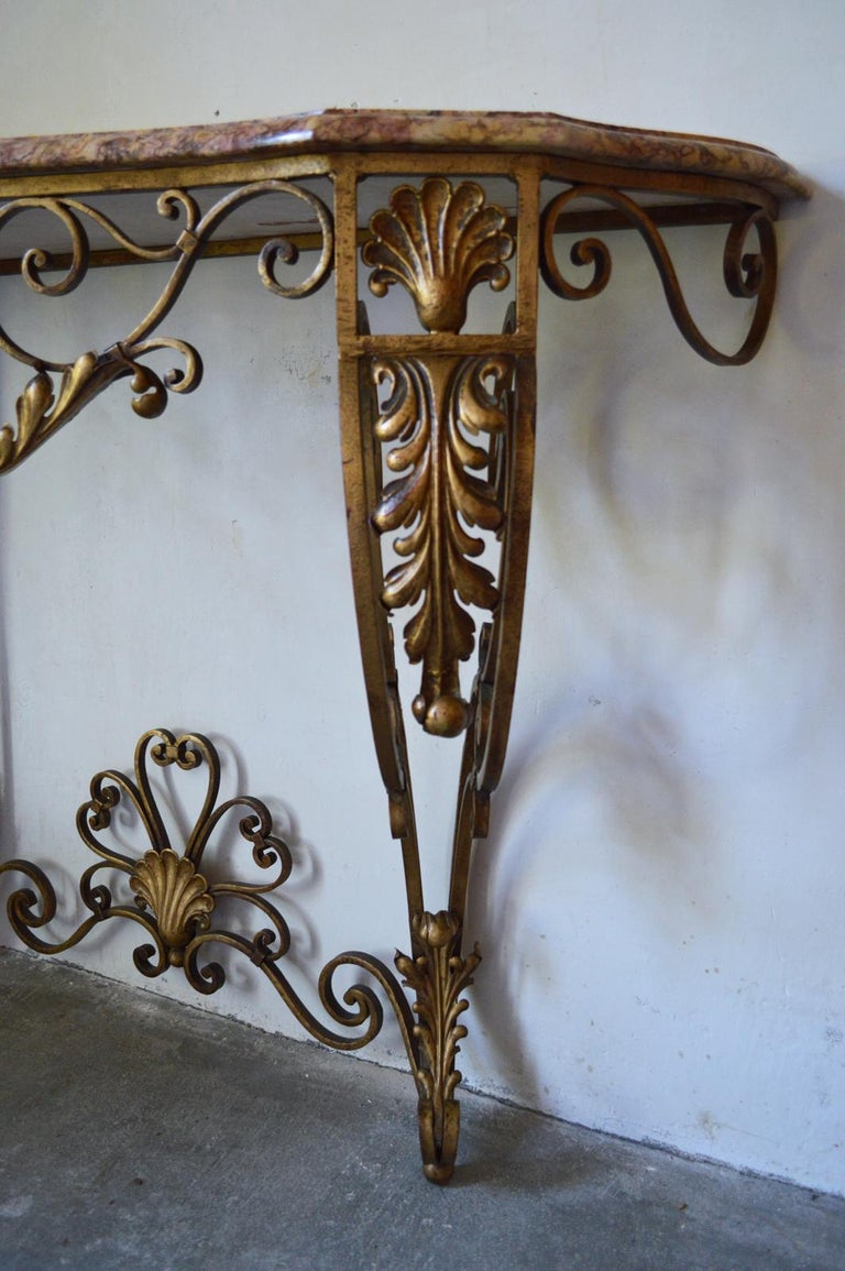 French Louis XV Style Gilt Wrought Iron and Marble-Top Console Table For Sale 3