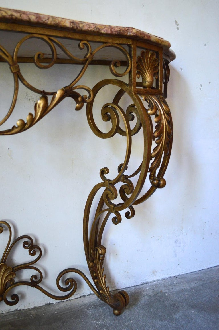 French Louis XV Style Gilt Wrought Iron and Marble-Top Console Table For Sale 4