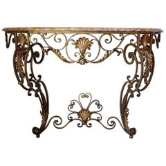 French Louis XV Style Gilt Wrought Iron and Marble-Top Console Table