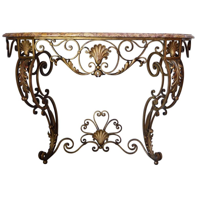 French Louis XV Style Gilt Wrought Iron and Marble-Top Console Table For Sale