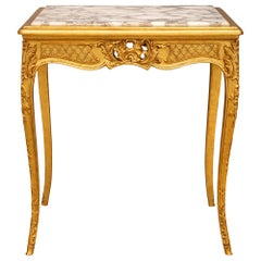 French Louis XV Style Giltwood and Fleur De Pêcher Marble Side Table