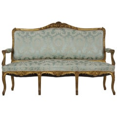 French Louis XV Style Giltwood Antique Settee Sofa in Blue Silk