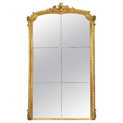 French Louis XV Style Giltwood Mirror with Divided Glass