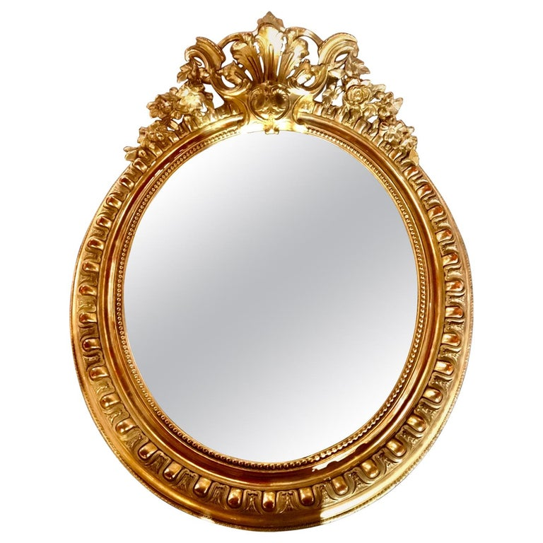 French Louis XV-Style Giltwood Oval Beveled Mirror, 19th Century For Sale