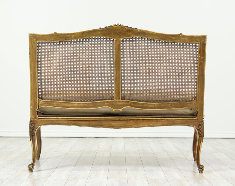 French Louis XV-Style Giltwood Settee For Sale 5