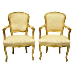French Louis XV Style Gold Gilt Fauteuil Arm Chairs to Refinish DIY, a Pair