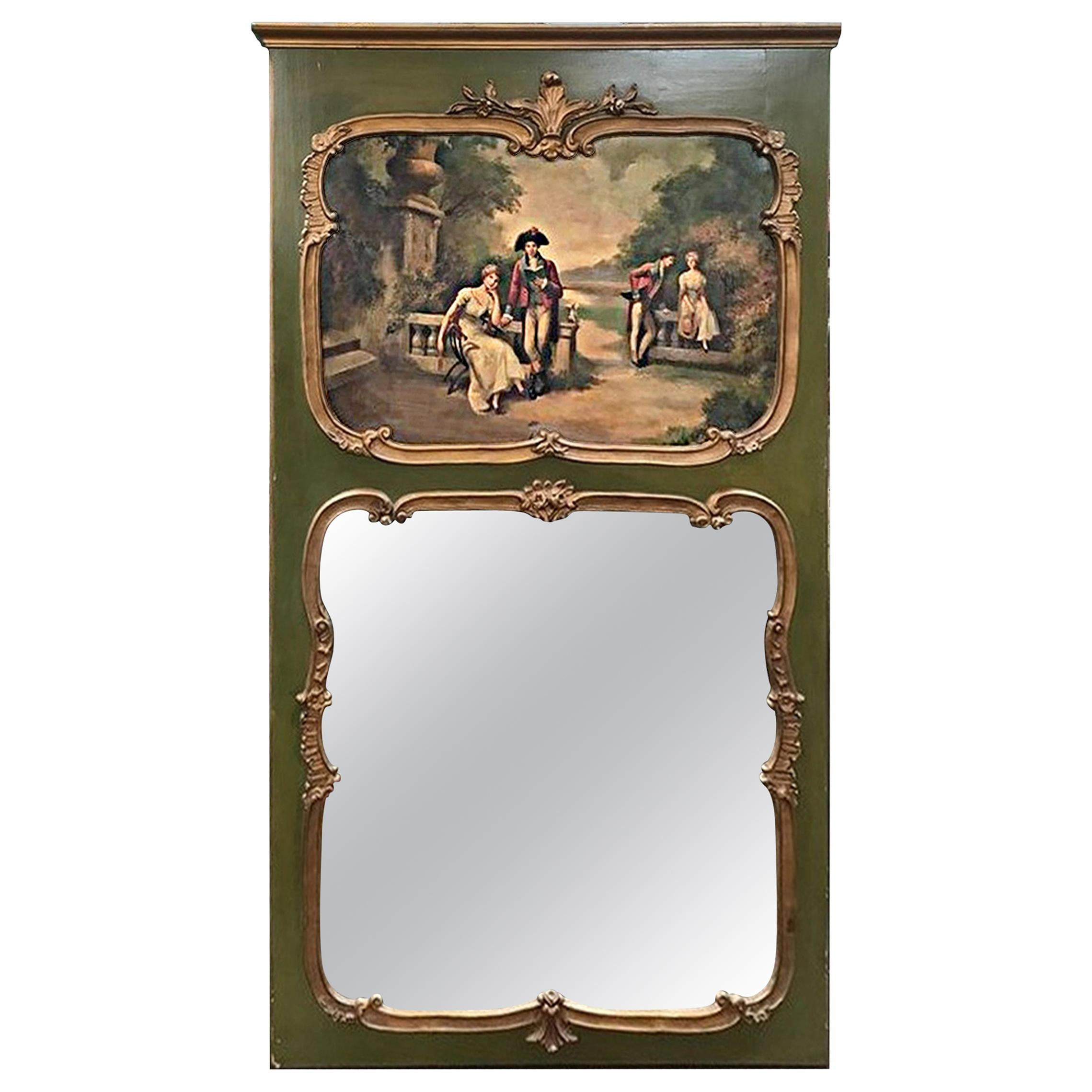 French Louis XV Style Green Painted Trumeau Mirror