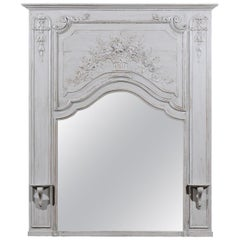 French Louis XV Style Grey Painted Trumeau Mirror with Carved Floral Decor