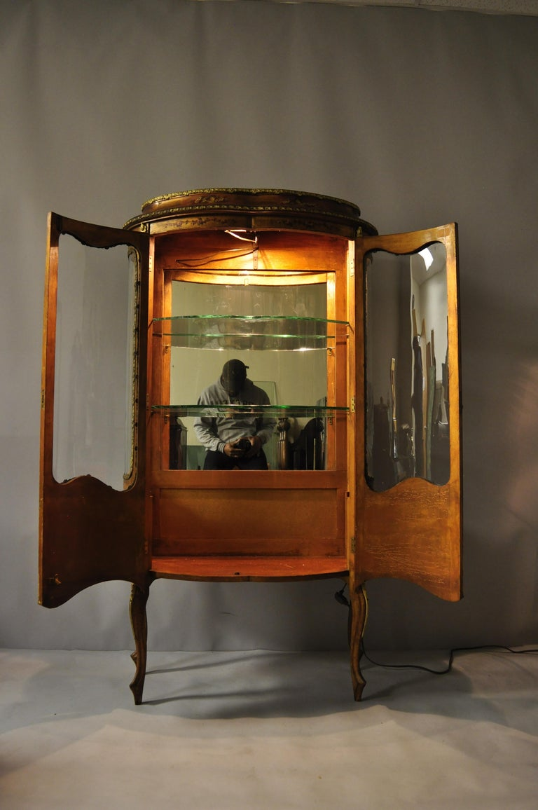 French Louis Xv Style Hand Painted Vernis Martin Vitrine