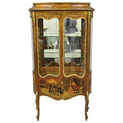 French Louis XV Style Hand Painted Vernis Martin Vitrine China Cabinet Curio
