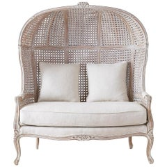 French Louis XV Style Hooded Balloon Canopy Porter's Settee