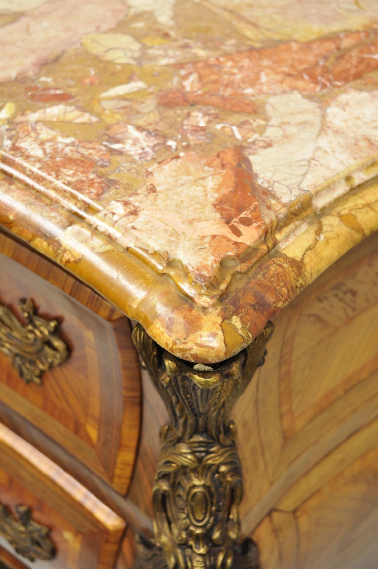 French Louis XV Style Inlaid Marble-Top Bombe Commode Chest with Bronze Figures For Sale 7