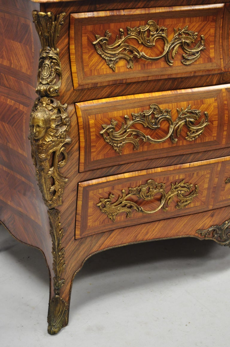 French Louis XV Style Inlaid Marble-Top Bombe Commode Chest with Bronze Figures In Good Condition For Sale In Philadelphia, PA