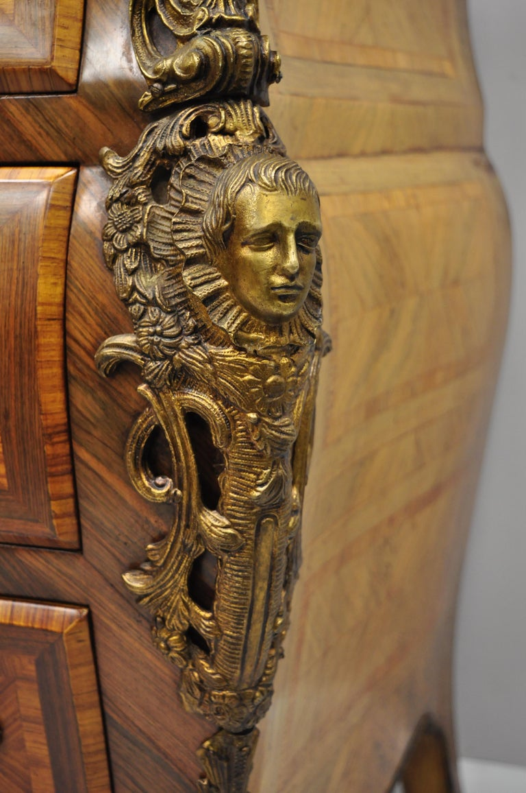 French Louis XV Style Inlaid Marble-Top Bombe Commode Chest with Bronze Figures For Sale 2