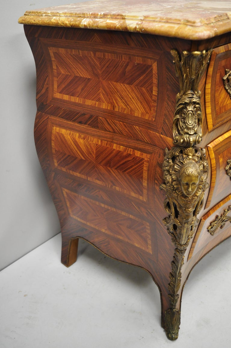 French Louis XV Style Inlaid Marble-Top Bombe Commode Chest with Bronze Figures For Sale 3
