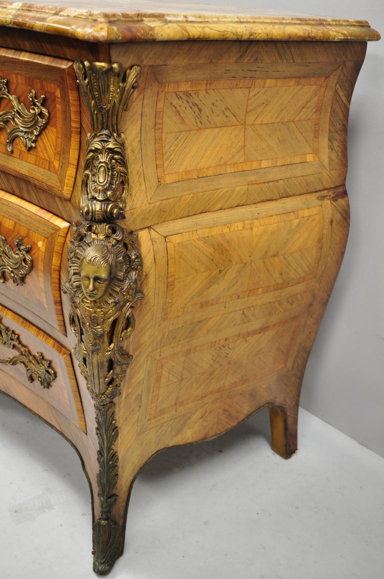 French Louis XV Style Inlaid Marble-Top Bombe Commode Chest with Bronze Figures For Sale 4