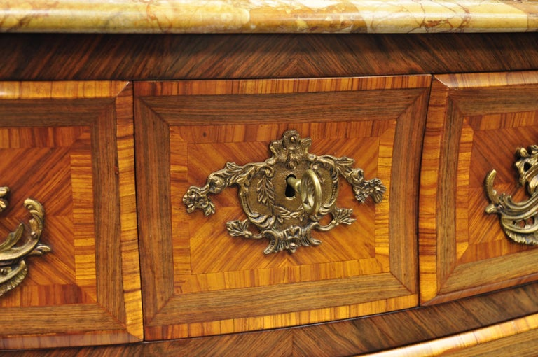 French Louis XV Style Inlaid Marble-Top Bombe Commode Chest with Bronze Figures For Sale 5