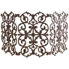French Louis XV Style Iron Fireplace Screen