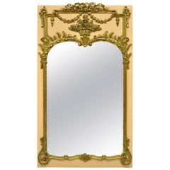French Louis XV Style Large Giltwood Trumeau Wall Mirror Peach and Gold