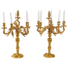 French Louis XV Style Large Pair of Gilt-Bronze Candelabra, circa 1850