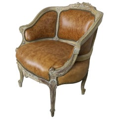 French Louis XV Style Leather Armchair, circa 1920s