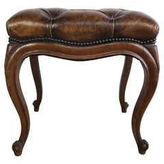 French Louis XV Style Leather Tufted Bench, circa 1930s