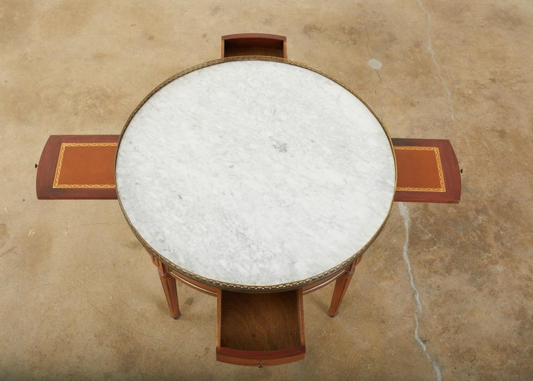 French Louis XVI Style Marble Bronze Mounted Bouillotte Table In Good Condition For Sale In Rio Vista, CA