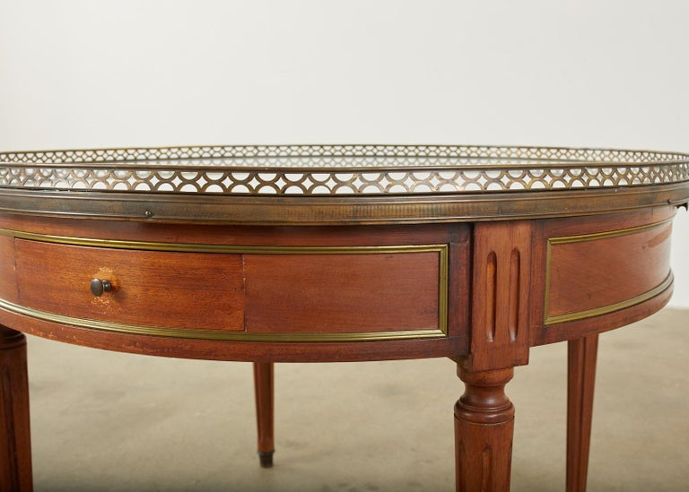 20th Century French Louis XVI Style Marble Bronze Mounted Bouillotte Table For Sale