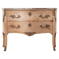 French Louis XV Style Marble-Top Bombe Dresser Commode