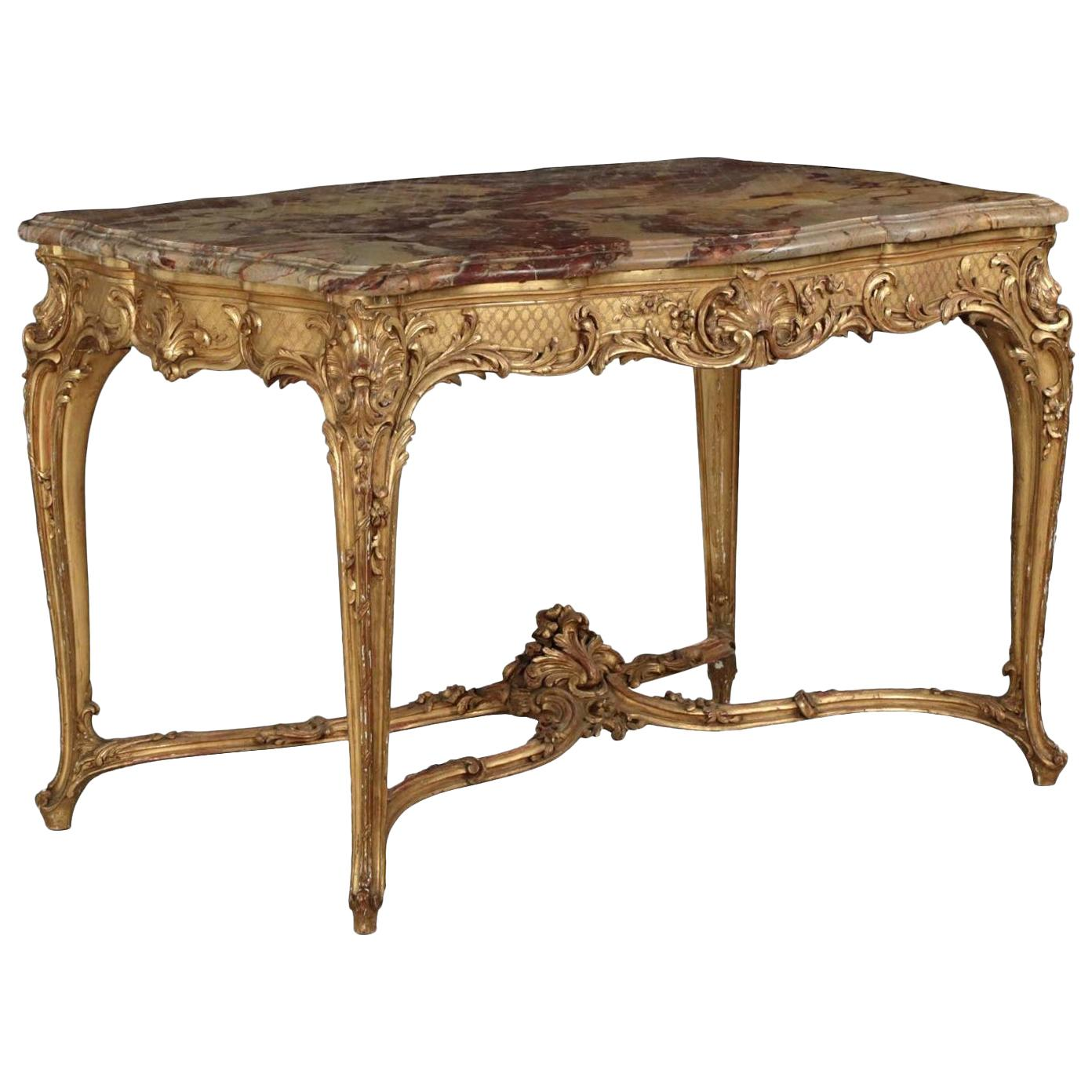 French Louis XV Style Marble-Top, Giltwood Center Table, Paris, circa 1880