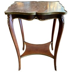 French Louis XV Style Marble-Top Side Table, 19th Century