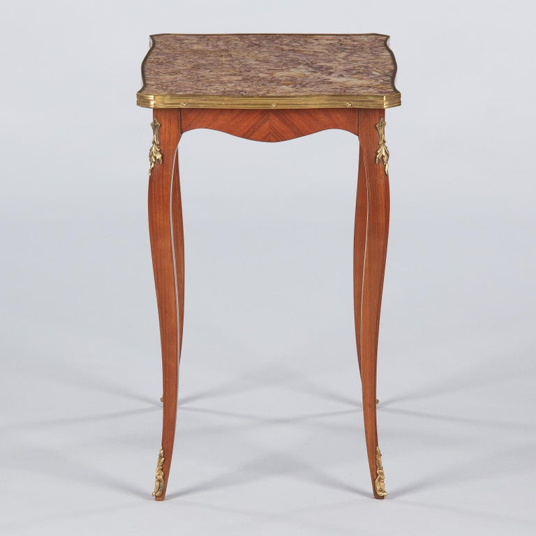 French Louis XV Style Cherry Wood and Marble-Top Side Table, 1940s For Sale 7
