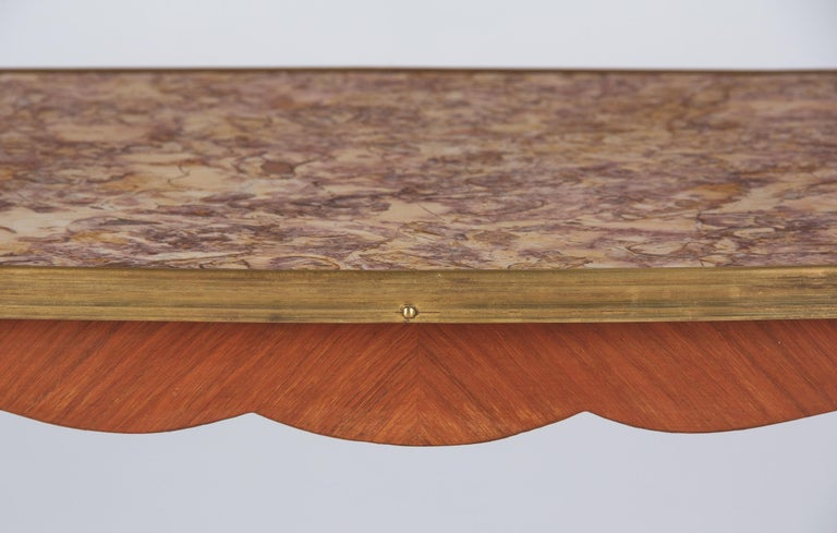 French Louis XV Style Cherry Wood and Marble-Top Side Table, 1940s For Sale 8