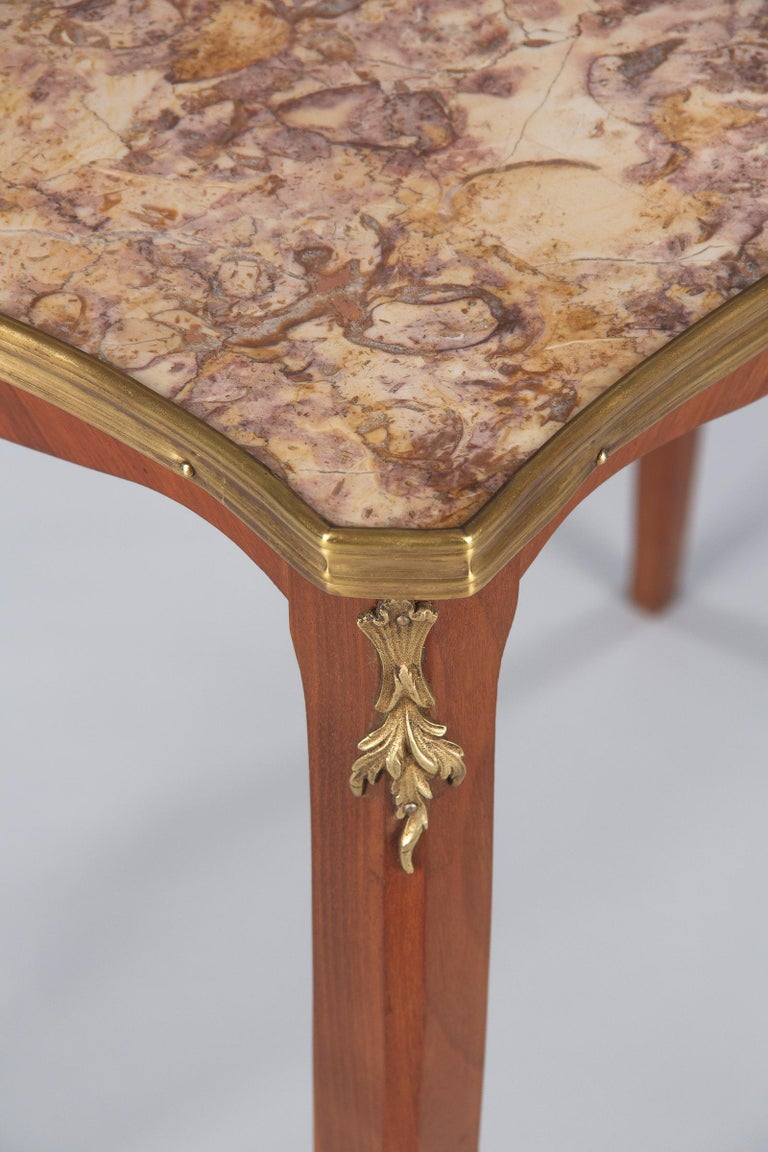 Brass French Louis XV Style Cherry Wood and Marble-Top Side Table, 1940s For Sale